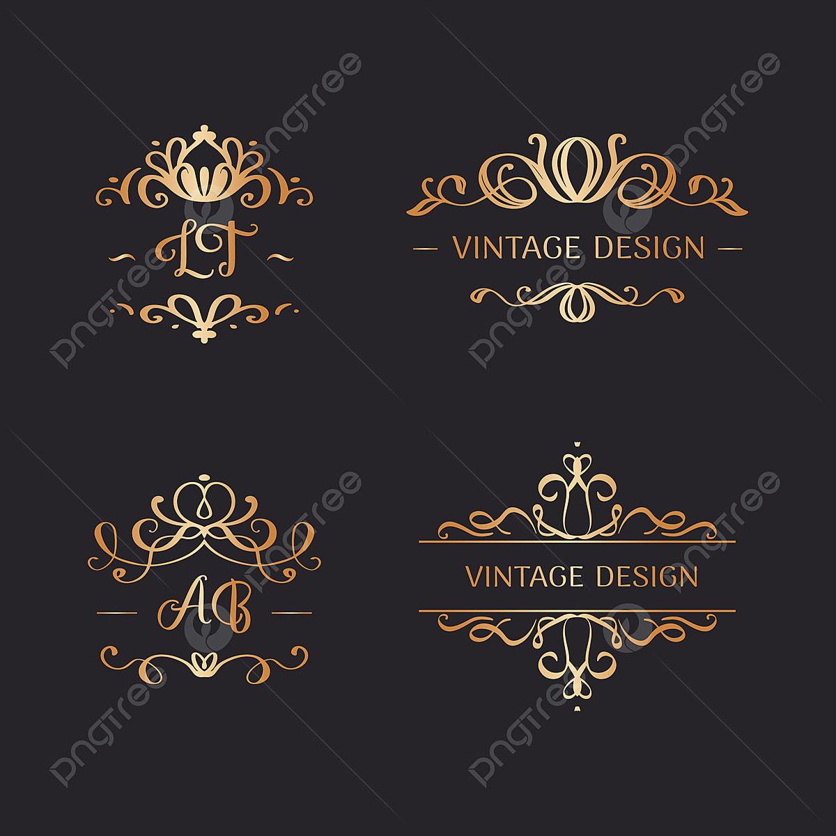 18 Set Von Hochzeitslogos Im Vintage Stil, Einstellen, Rahmen, Logo ...
