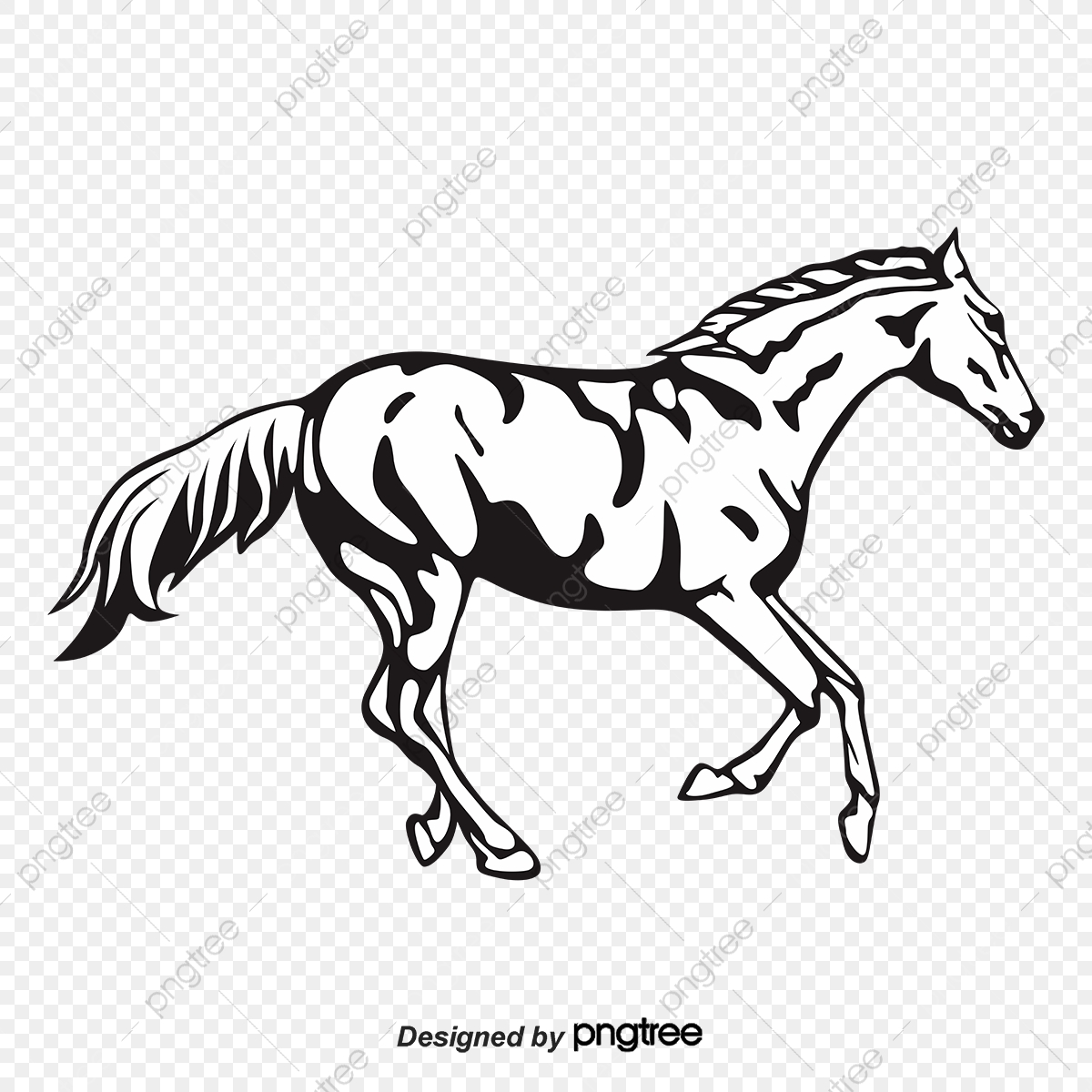 Silhouette Of A Horse Running In Black And White Horse Clipart Black And White Whole Body Silhouette Png And Vector With Transparent Background For Free Download