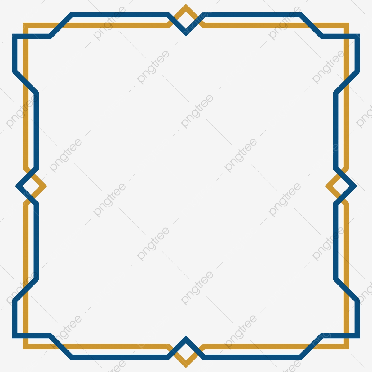 Emas Dan Warna Biru Bingkai Mudah Arab Islam Geometri Di