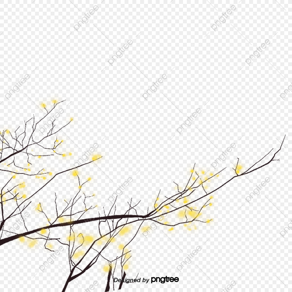 Small Yellow Flowers With Branches Element Big Tree Branch Png