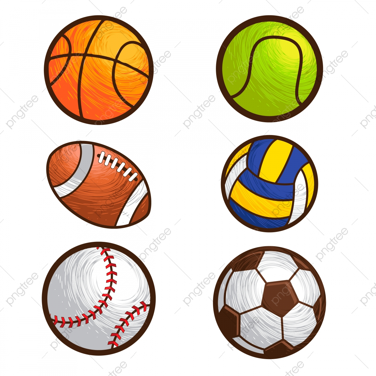 Sport Ball Vector Illustration Set Handball Baseball Tennis Png And Vector With Transparent Background For Free Download