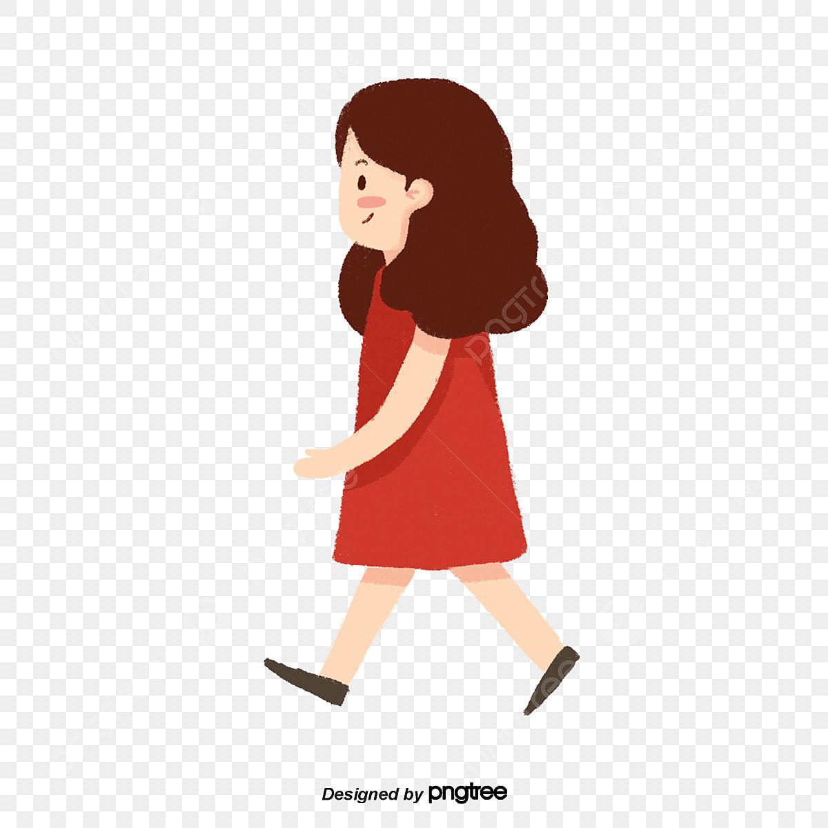 La Chica Del Vestido Rojo Estácaminando La Chica La Chica
