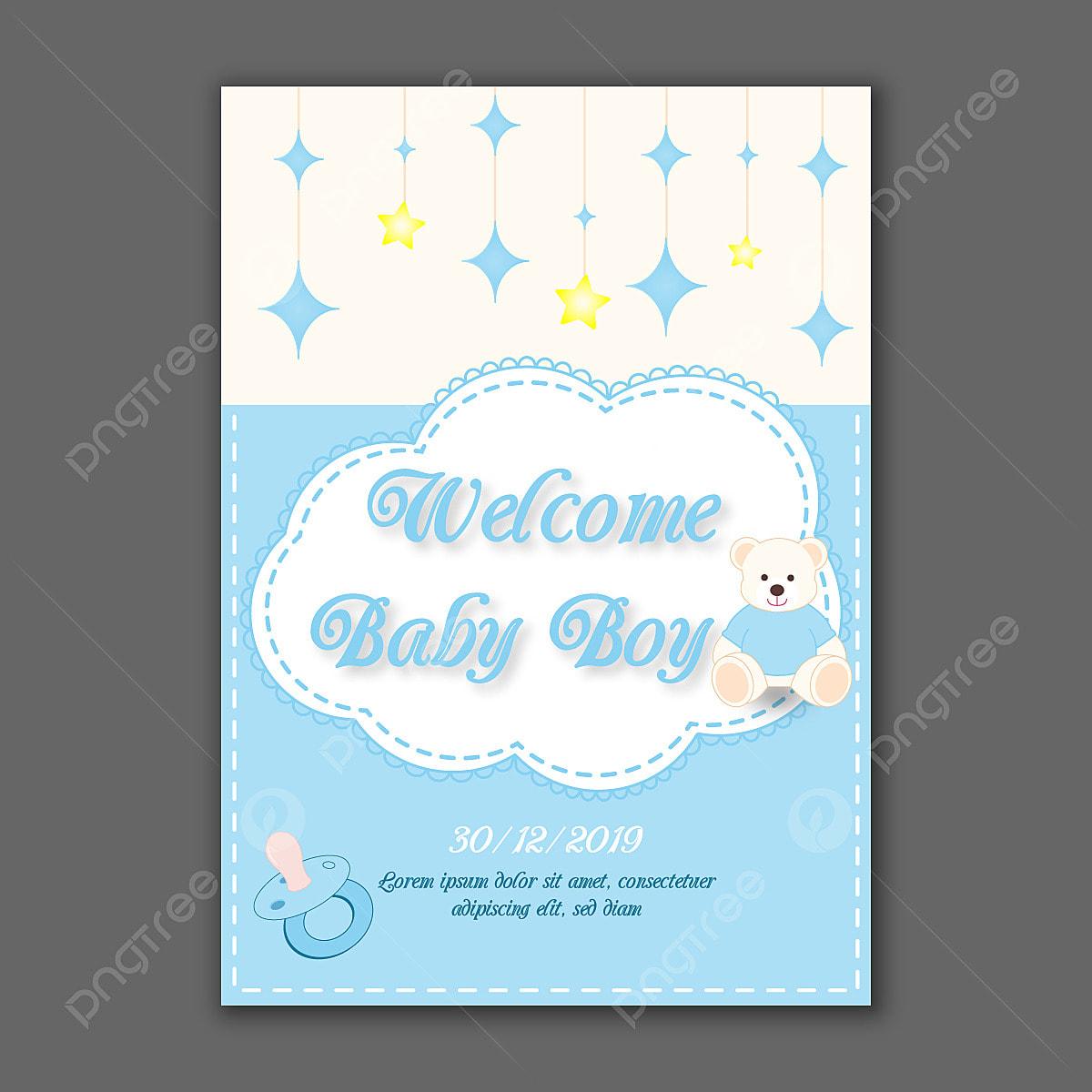 Vector Baby Shower Invitation Template, Illustration, Invitation