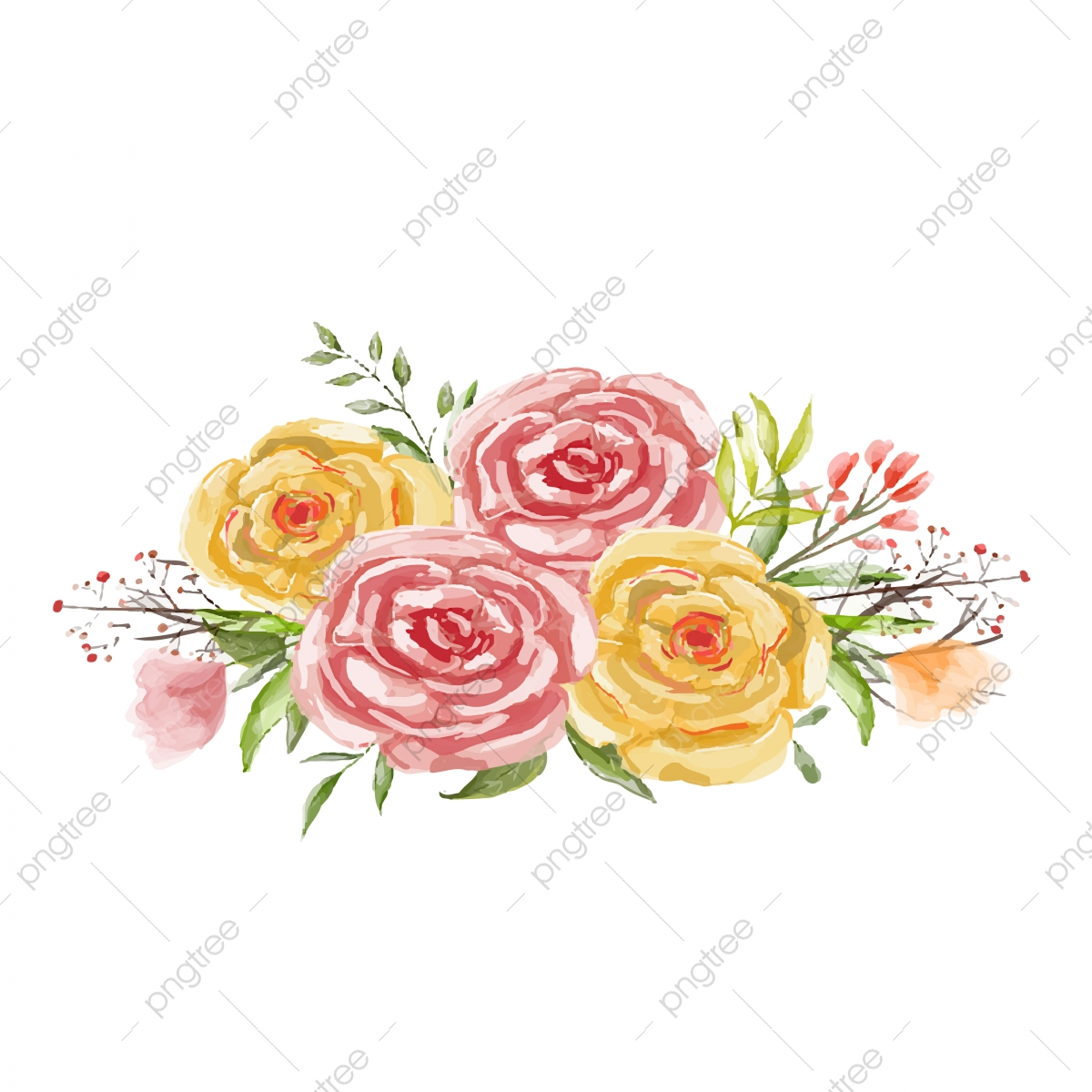 Merah Dan Kuning Bunga Bunga Dan Daun Hijau Untuk Vector Romantis