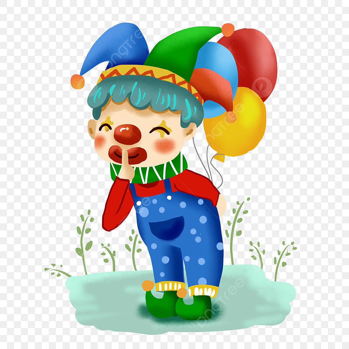 Cartoon Cute Clown Funny Naughty Holding Balloon Cartoon