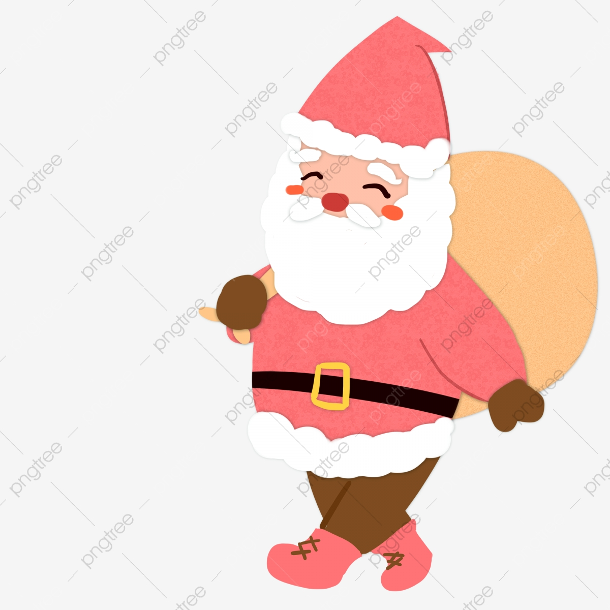 Cartoon Cute Santa Claus Carrying Sack Cartoon Paper Wind Small Fresh Png Transparent Clipart Image And Psd File For Free Download