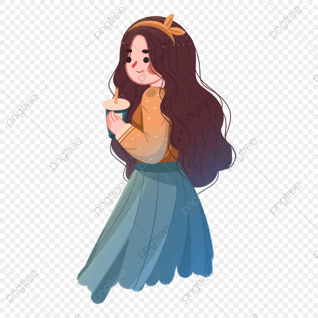 Cartoon Cute Wind Girl Illustration Character Elements Long Haired Girl Character Fashion Png Transparent Clipart Image And Psd File For Free Download
