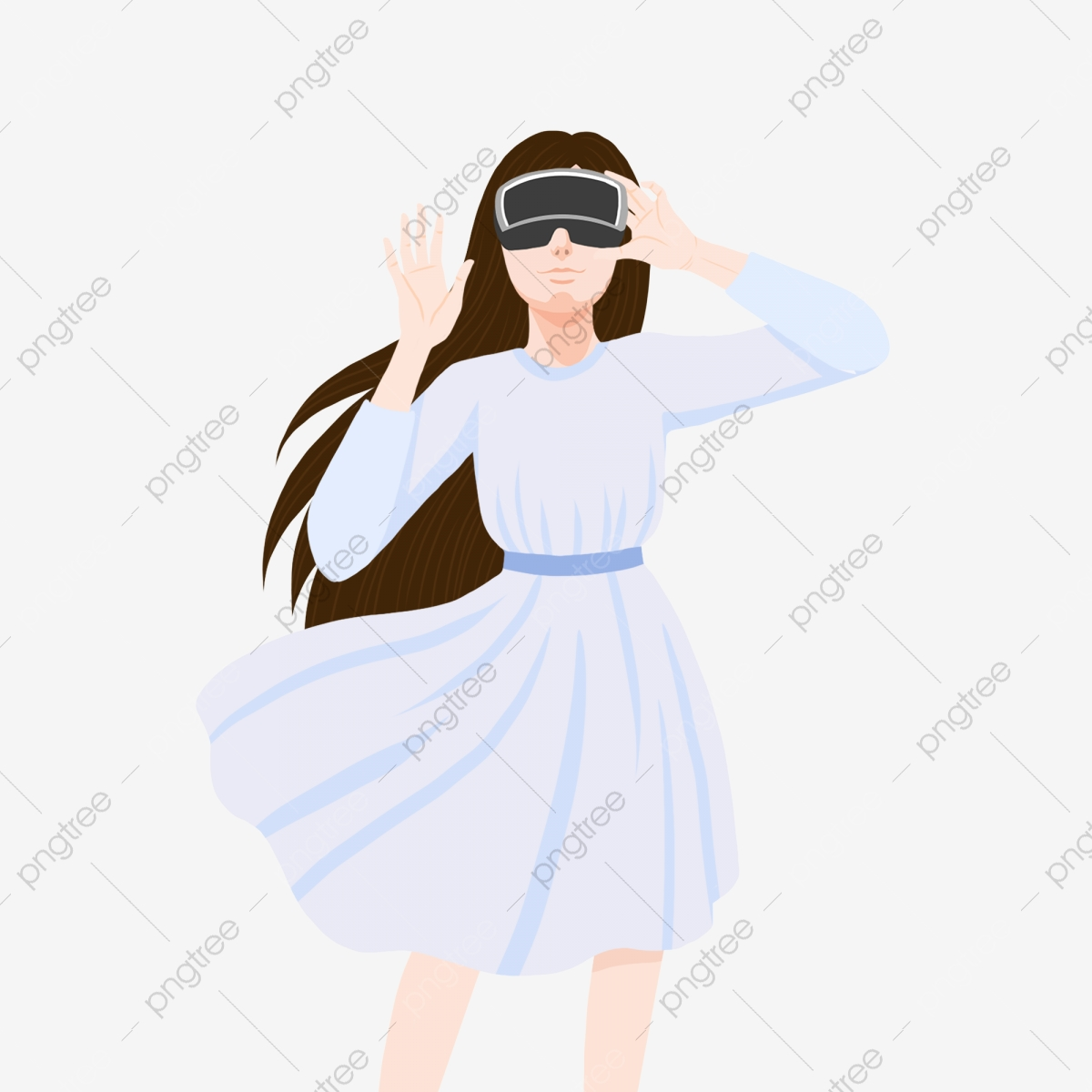 Cartoon Little Fresh Girl With Vr Glasses Experiencing Virtual
