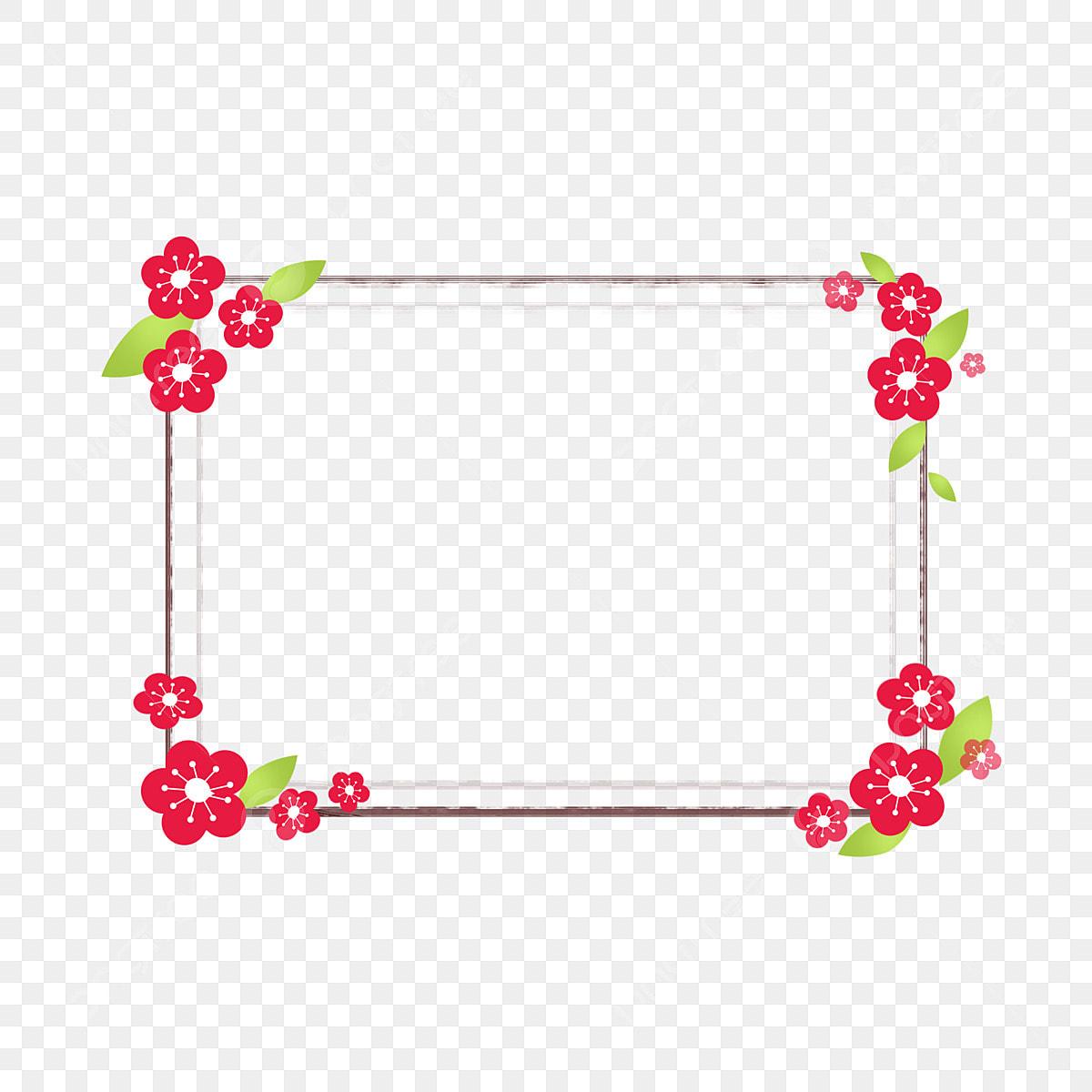 Dessin Animé Plante Fleur Fleur Cerisier Fleurs Frontière