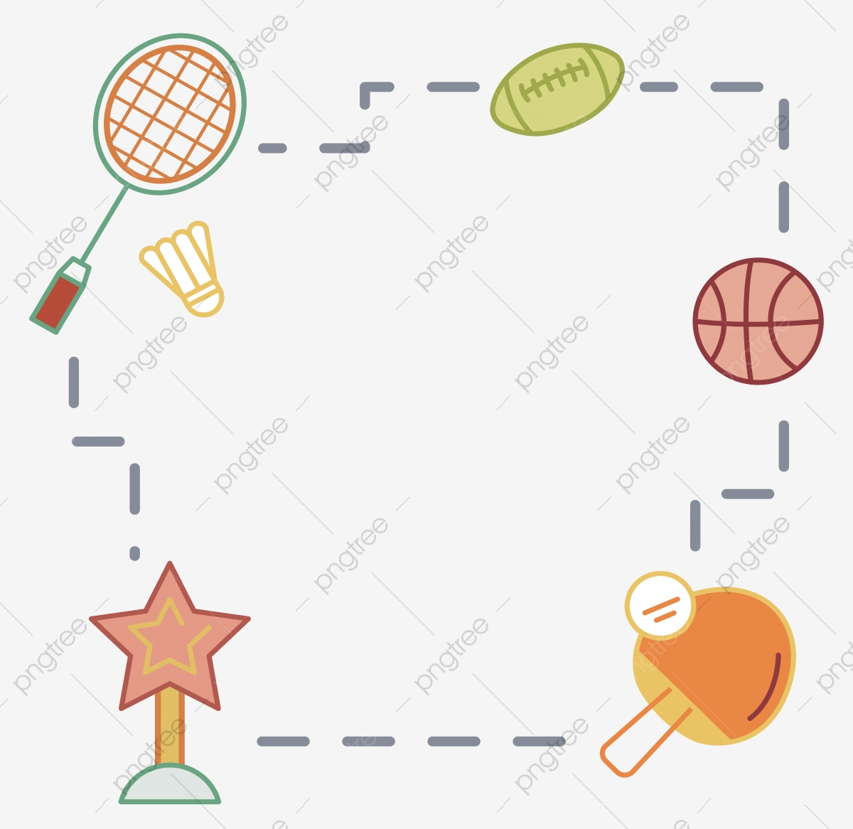 Children Cartoon Hand Painted Sports Ball Stick Figure Decorative Border Vector Simple Cartoon Png And Vector With Transparent Background For Free Download