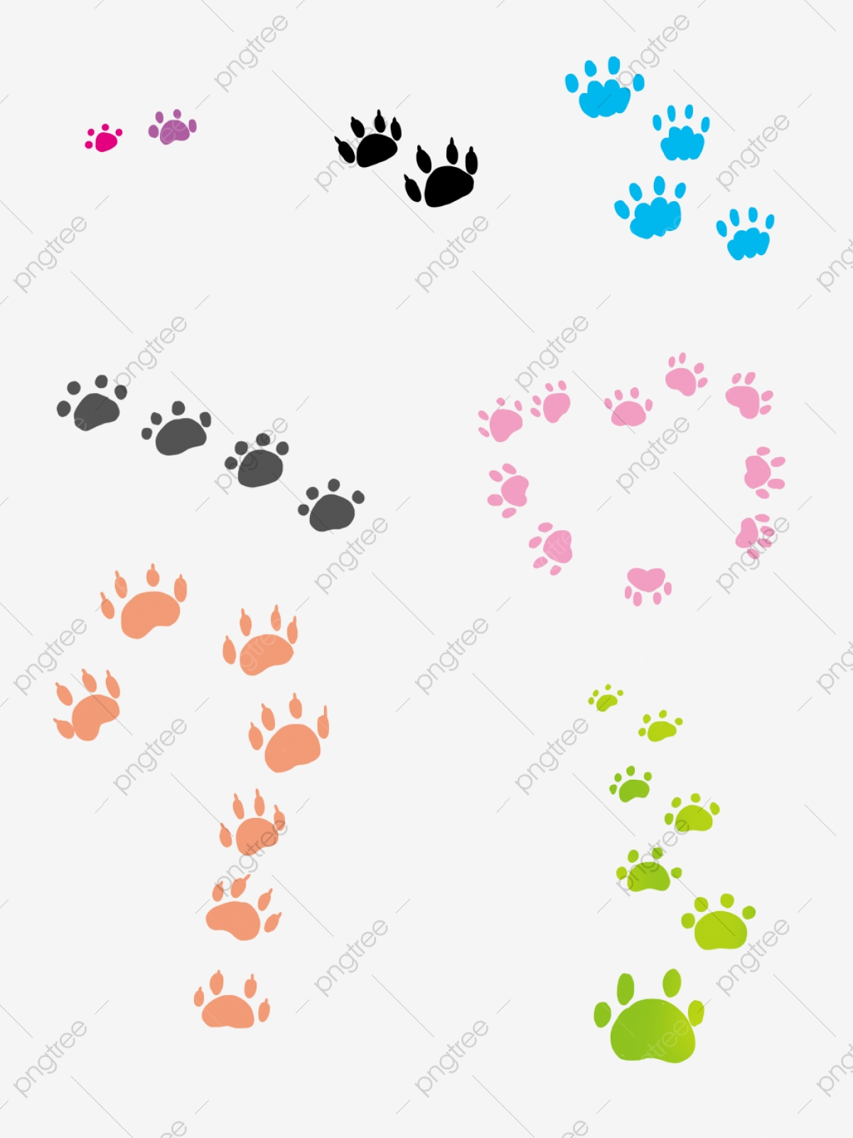 Color Cat Paw Prints Are Commercially Available Cat Paw Print Footprints Png Transparent Clipart Image And Psd File For Free Download