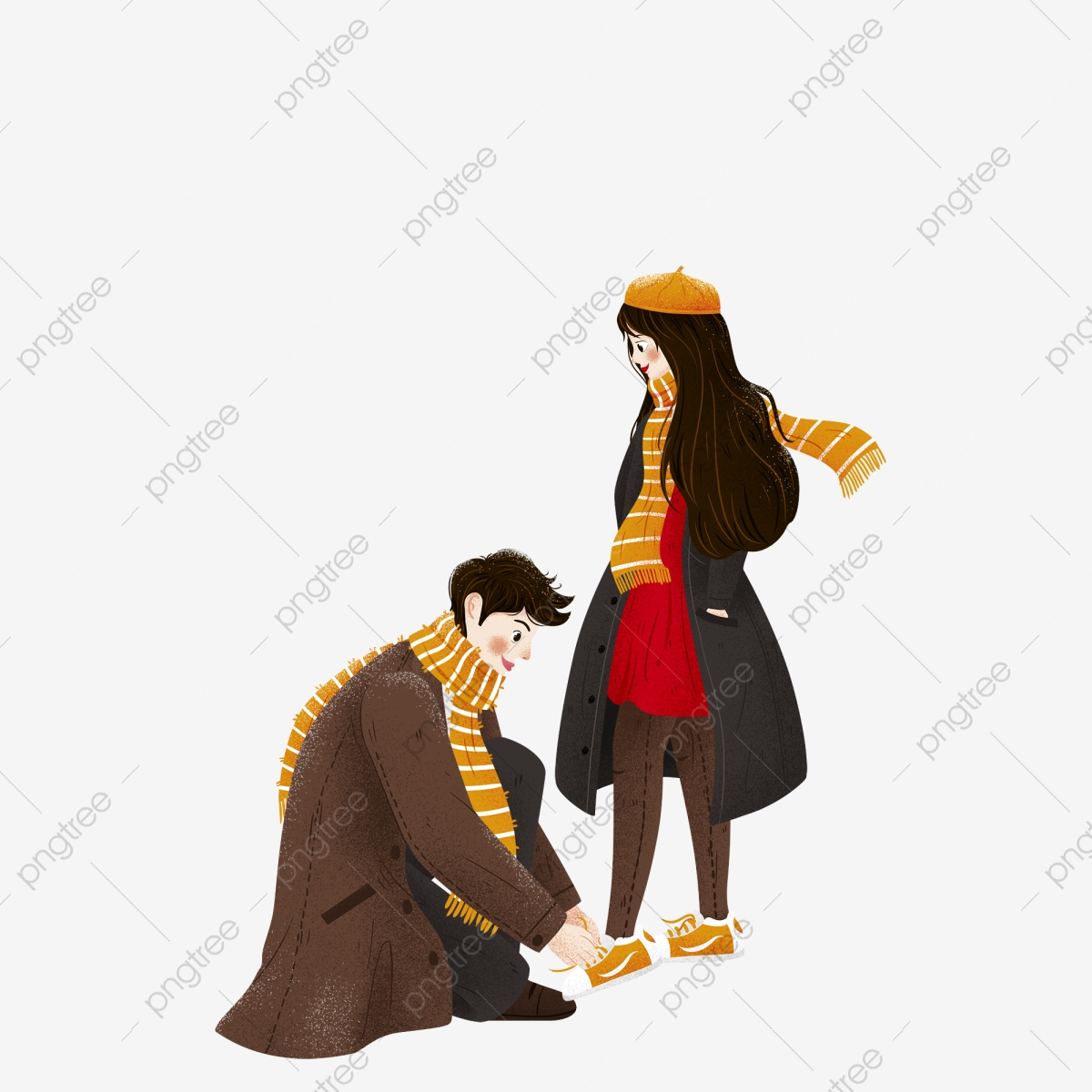 Hand Drawn Boy Tying Shoes To Girl