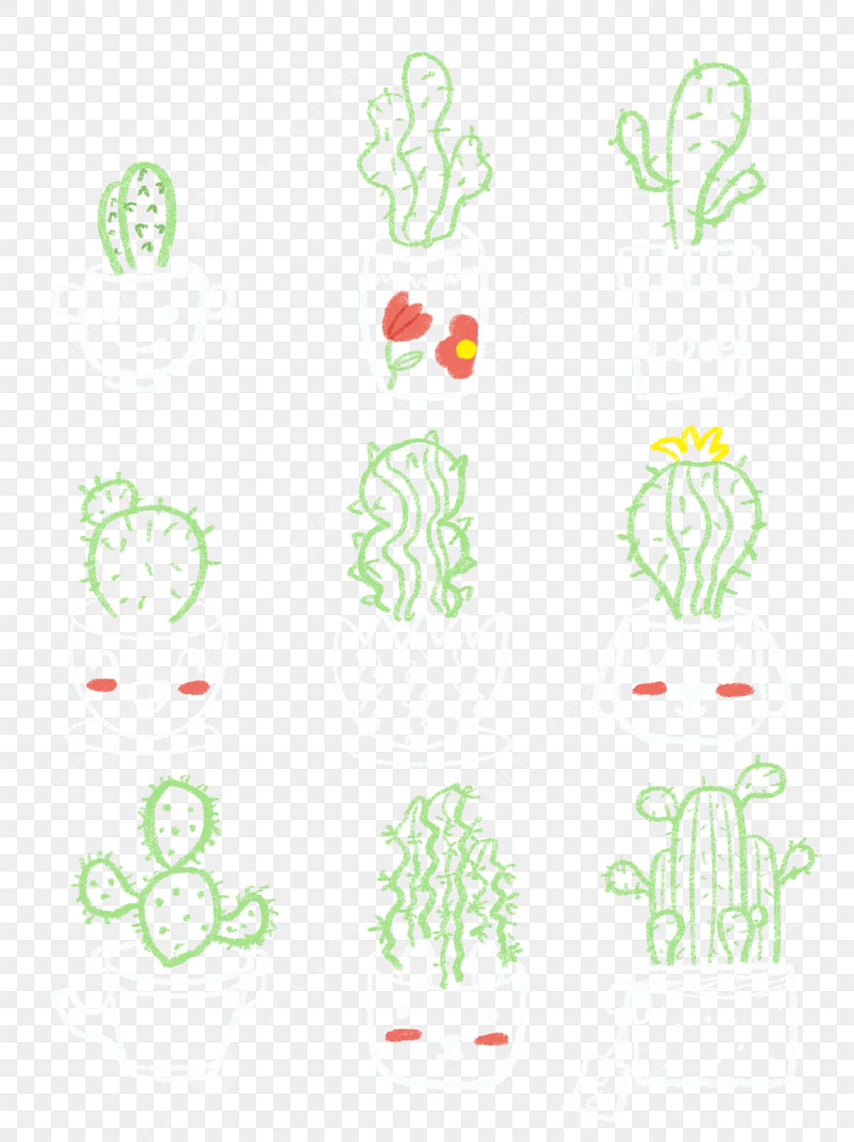Cactus Mignon Dessin à La Craie Tableau Noir Doodle Au