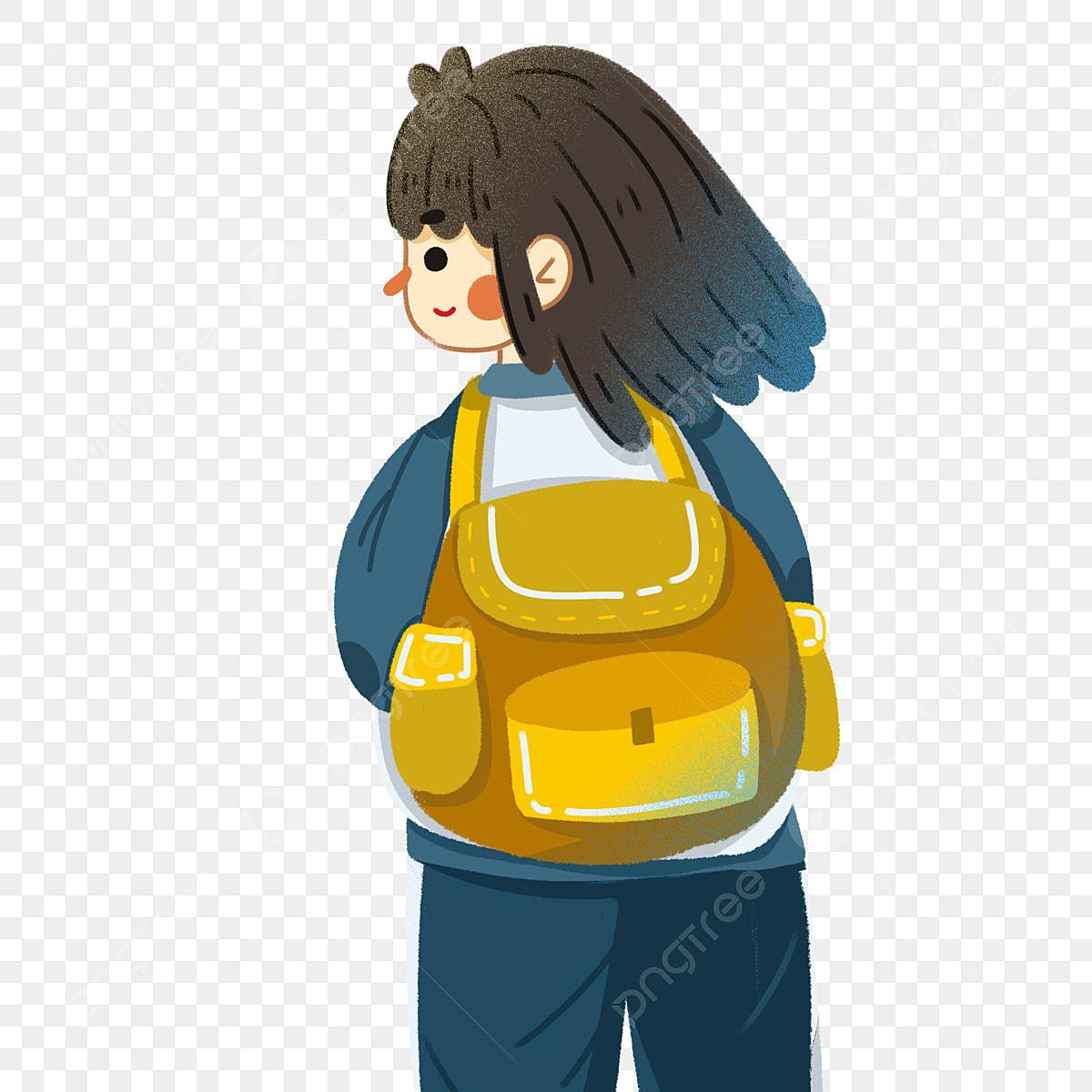 Alone Cartoon Girl flat cute girl character back to school alone, flat, cartoon