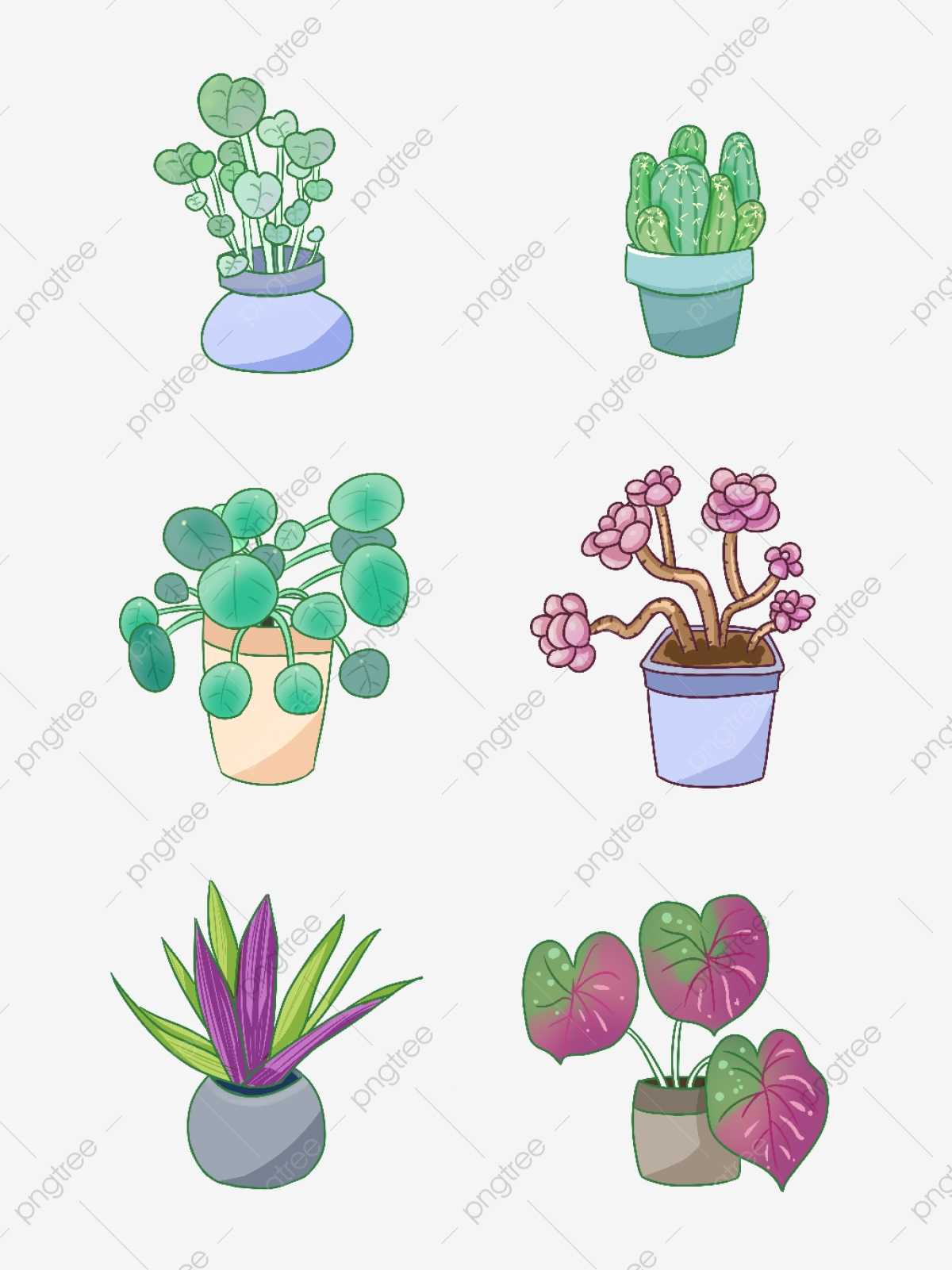 Hand Drawn Cute Plants Set Illustration Hand Painted Cute Plant Png Transparent Clipart Image And Psd File For Free Download