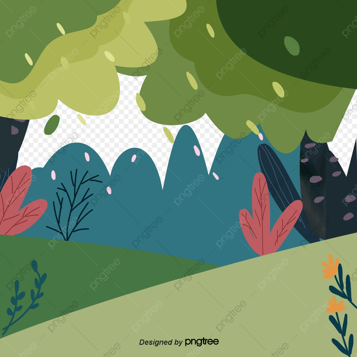 Hand Painted Cartoon Forest Rain Rain Cartoon Lovely PNG