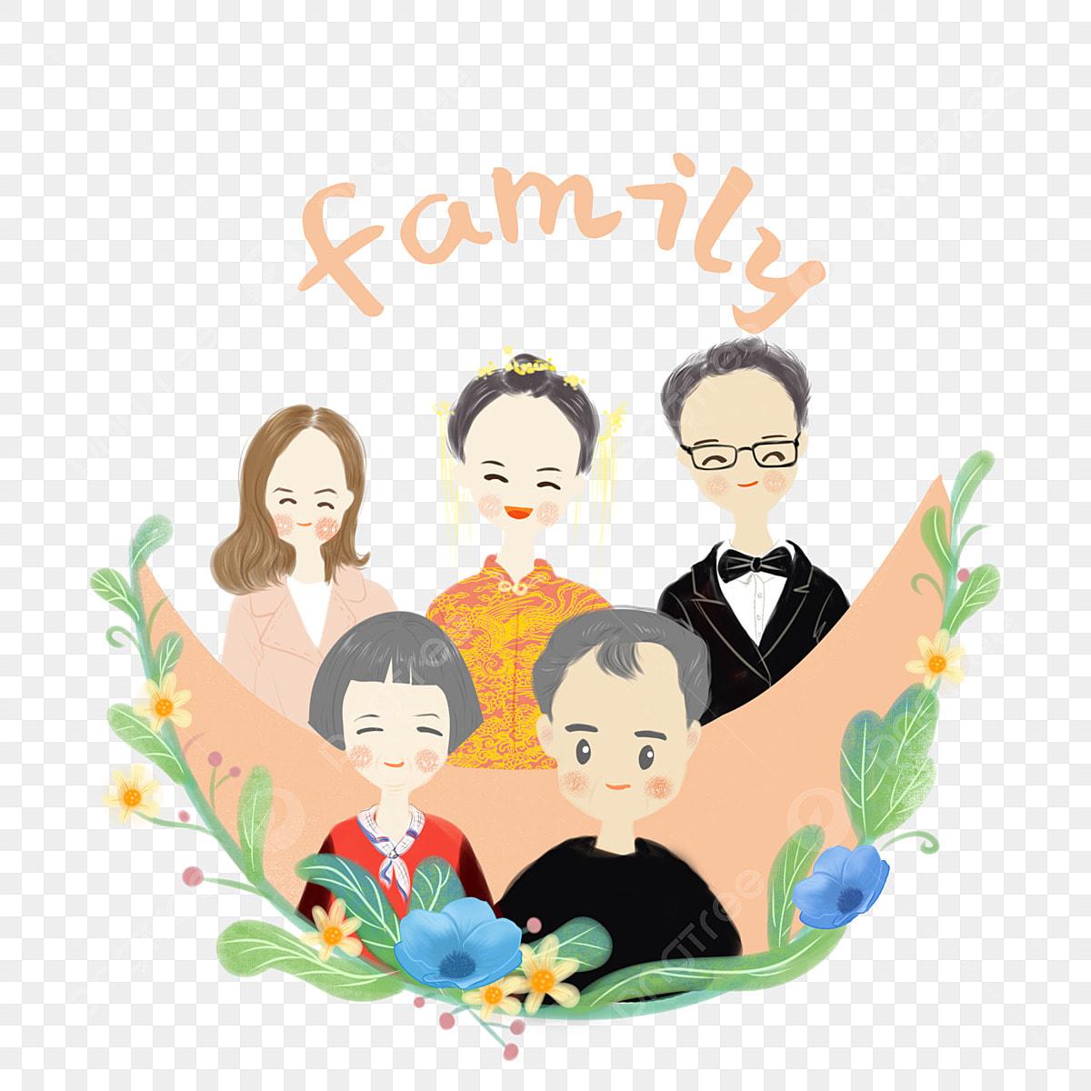 Gambar Lukisan Tangan Potret Keluarga Keluarga Reuni Gambar Kebahagiaan Kartun Png Dan Psd Untuk Muat Turun Percuma