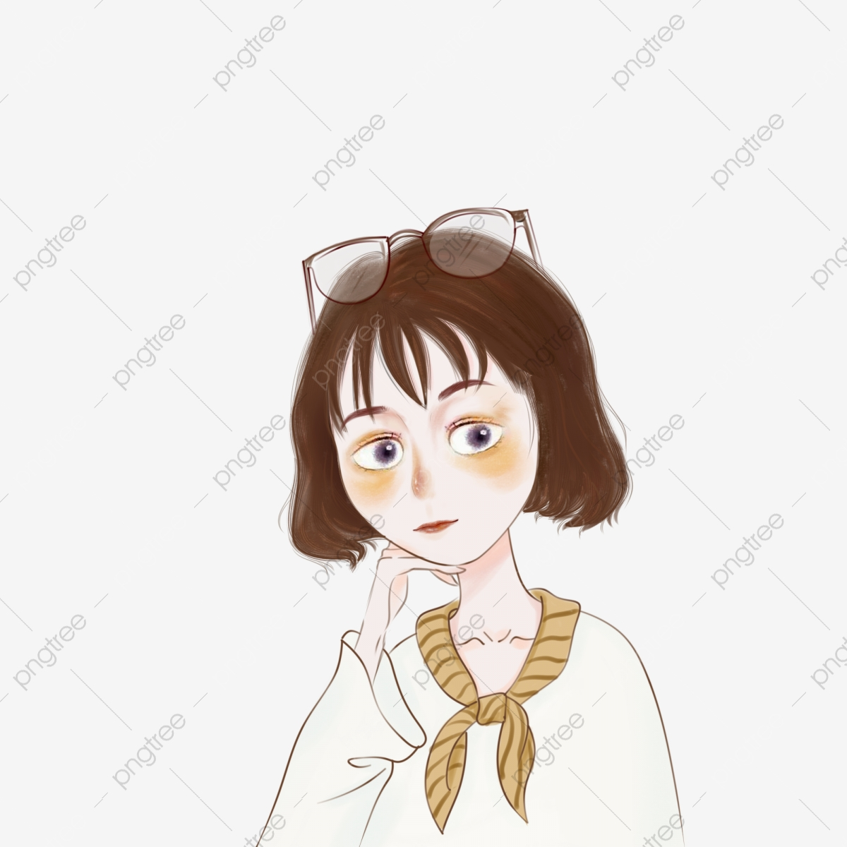 Short Hair Girl Avatar Cute Cartoon Glasses Hand Drawn Short Hair