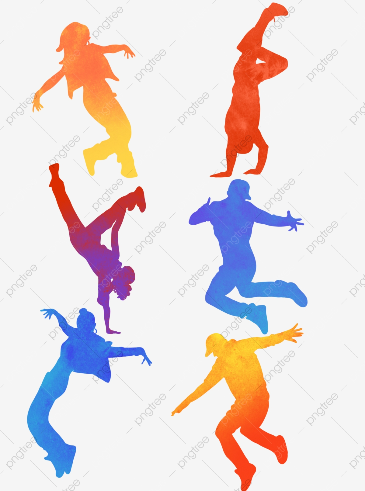 Dance Silhouette Gradient Color Vibrant Youth Hand Painted Dance Jazz Dance Gradient Png Transparent Clipart Image And Psd File For Free Download