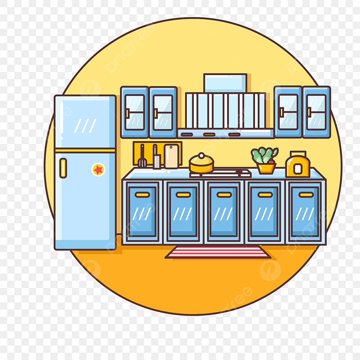 Vector Minimalist Cute Kitchen Kitchen Supplies Room ...
