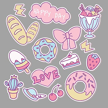 cute  sticker, Doughnut, Sticker, Bread PNG and PSD