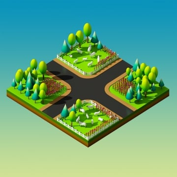 sheep in the landscape, Isometric View, Landscape, Nature PNG and PSD