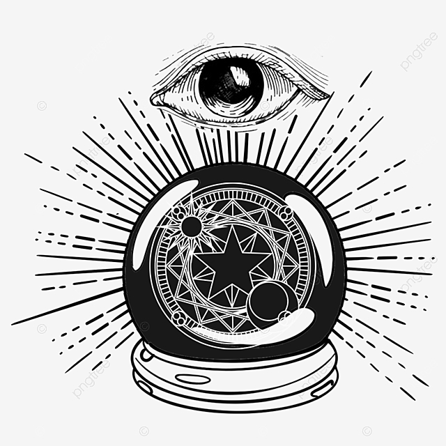 Divination Crystal Ball Eye Witchcraft Black And White Hand