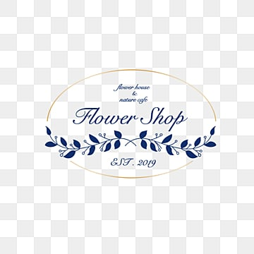 blue minimalist style metal border flower shop logo, Vector, Spray, Linear Flower PNG and PSD
