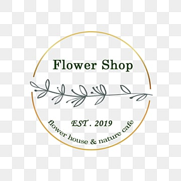simple linear draft flower shop logo, Line, Small Flower, Circle Box PNG and PSD