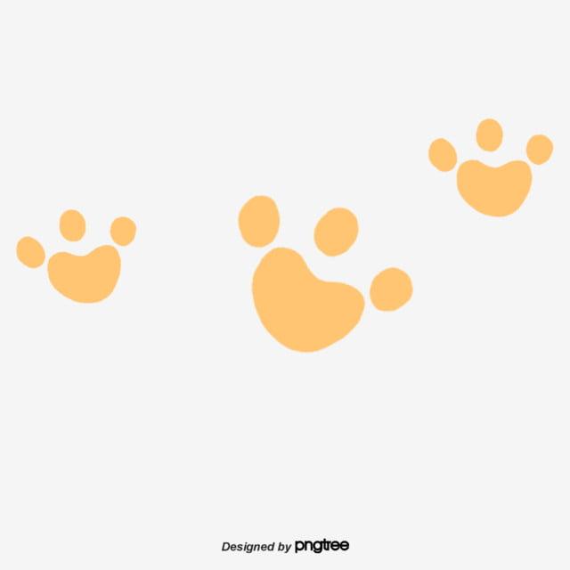 Several Orange Dog Paw Prints, Orange, Print, Dog Claw PNG