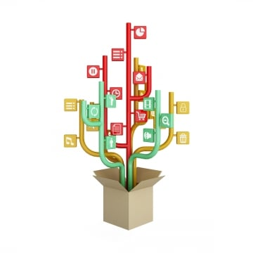 the tree consisting of the icons on the topic of social media  out of the box, Media, Icons, Tree PNG and PSD