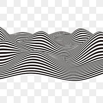 black and white striped wavy solid stripe element, Black And White, Stripe, Stereoscopic PNG and PSD