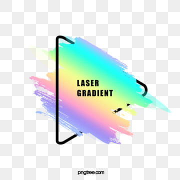 holographic rainbow brush rounded triangle border, Black, Frame, Gradient PNG and PSD