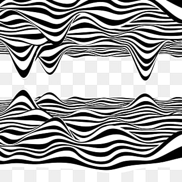 black and white striped flow mirror symmetry element, Mirror, Symmetric, Black And White Stripes PNG and PSD
