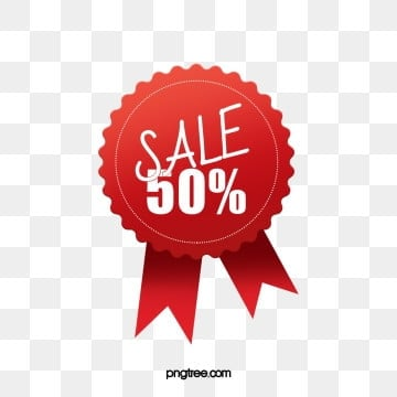 geometric red half price promotion price tag, Simple Label, Hot-selling Labels, Half Price Sale Label PNG and PSD