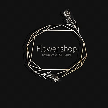 polygonal minimalist line drawing flower shop logo, Line Border, Gloss Gradient, Hand Painted Flower Branches PNG and PSD