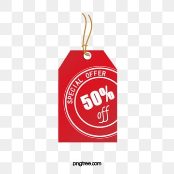 red geometric half price big promotion label, Half Price Discount Price Tag, Label Design, Half Price Promotion Label PNG and PSD