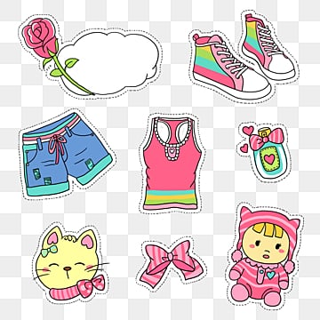 youth fashion girl supplies cartoon sticker, Flowers, Dolly, Kitty PNG and PSD