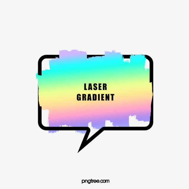 Holographic Rainbow Brush Text Bubble Dialog Border