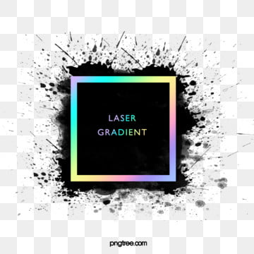 black ink holographic rainbow color solid square frame, Black, Ink, Spatter PNG and PSD