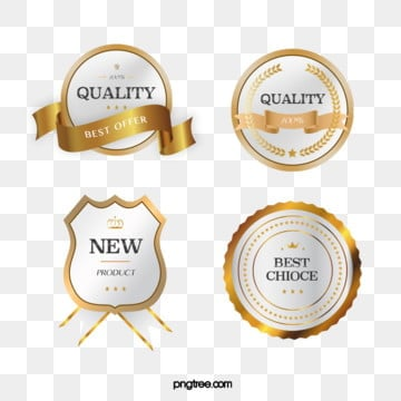 golden vector texture member badge sticker, Golden, Metal, Label PNG and PSD