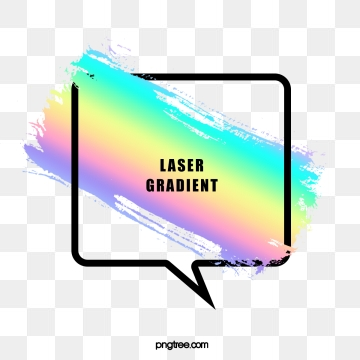 holographic rainbow brush square bubble text border, Iridescent Color, Brush, Gradient PNG and PSD