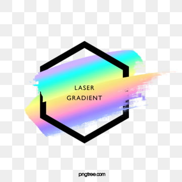 holographic rainbow color stereo brush hexagonal border, Black, Frame, Gradient PNG and PSD