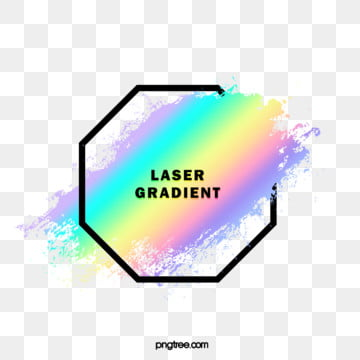 holographic rainbow color watercolor brush octagonal border, Brush, Black, Frame PNG and PSD