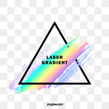 holographic rainbow color watercolor brush triangle border, Iridescent Color, Holographic, Brush PNG and PSD