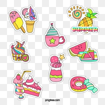 summer ice cream dessert fruit girl sticker, Cake, Ice Cream, Pineapple PNG and PSD