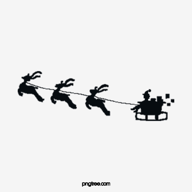 Christmas Black Sleigh Deer Santa Claus Gift Christmas