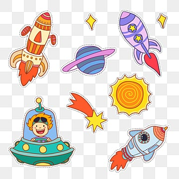 cartoon hand drawn aerospace exploration play stickers, Cartoon, Hand Painted, Sunlight PNG and PSD