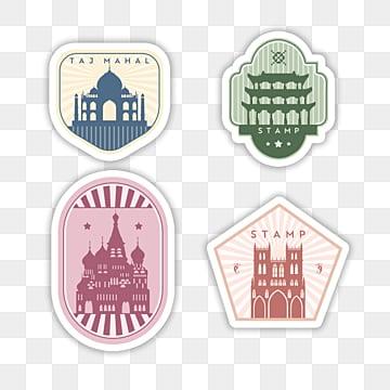 cartoon retro commemorative stamp sticker, Sticker, Decoration, Label PNG and PSD