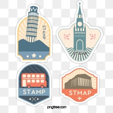 city building beautiful vintage stamp sticker, Sticker, Decoration, Label PNG and PSD